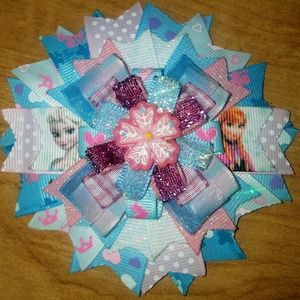 Other - Handmade pink and blue Frozen bow